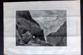 "ILN 1880 Antique Print. Pass of St. Gothard. From Turner's ""Liber Studiorum"""